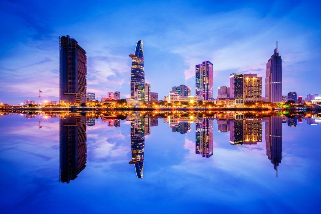 Nowoczesne wieżowce w Ho Chi Minh City, Wietnam