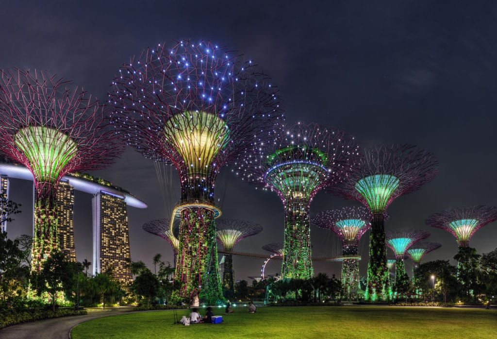 Gardens by the Bay nocą, Singapur