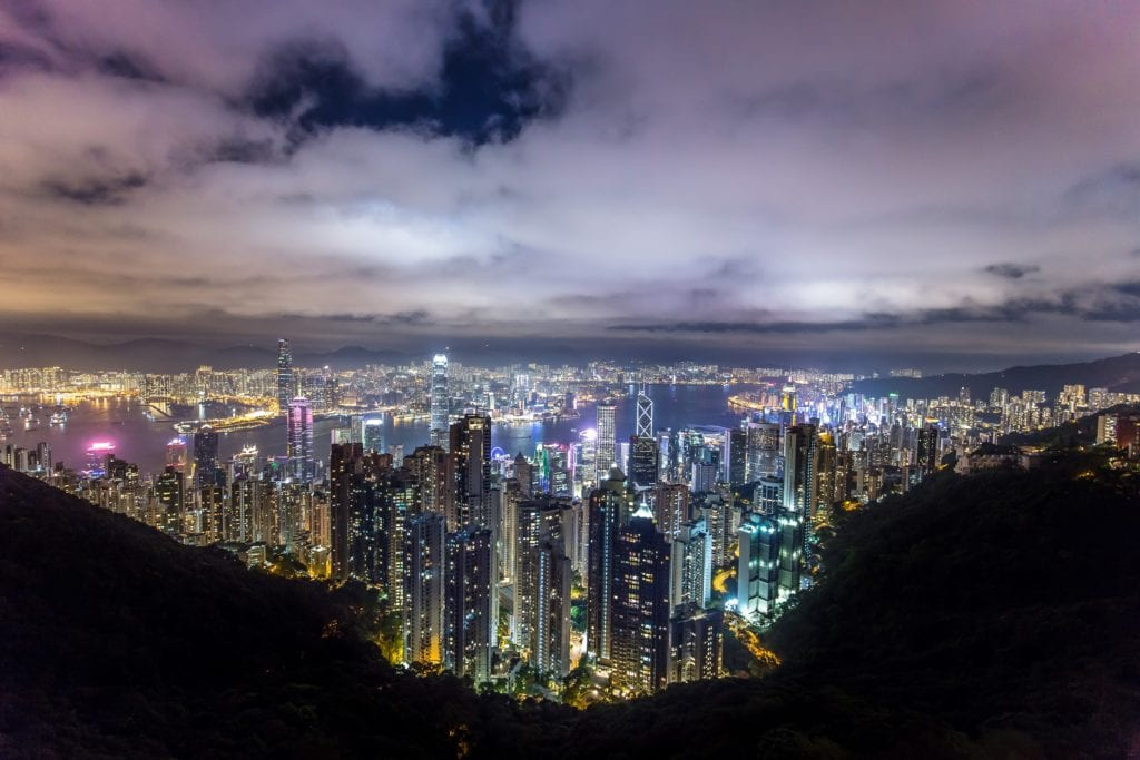 Widok na miasto ze Wzgórza Wiktorii, Hong Kong