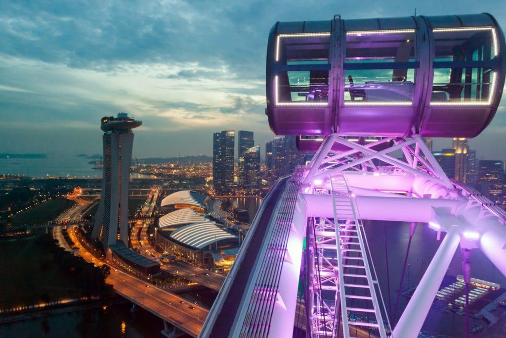 Widok z koła widokowego Singapore Flyer, Singapur