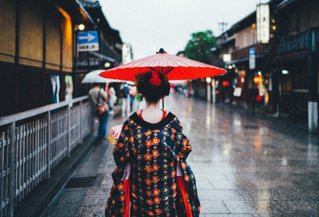 Japonia, kobieta w tradycyjnym japońskim kimono