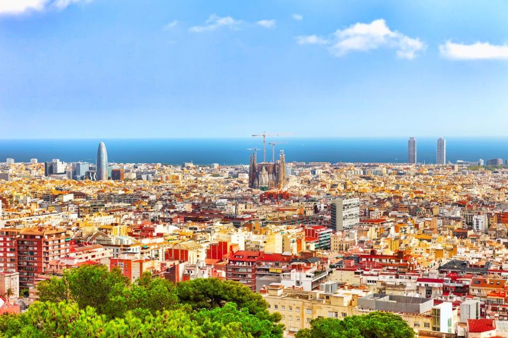 Panorama Barcelony ze wzgórza Montjuïc, Barcelona