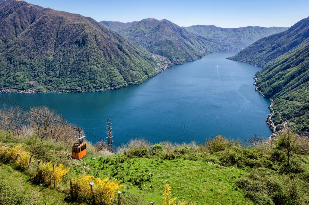Kolejka linowa z Argegno do Pigry, Jezioro Como