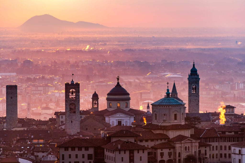 Panorama miasta z Castello di San Vigilio, Bergamo