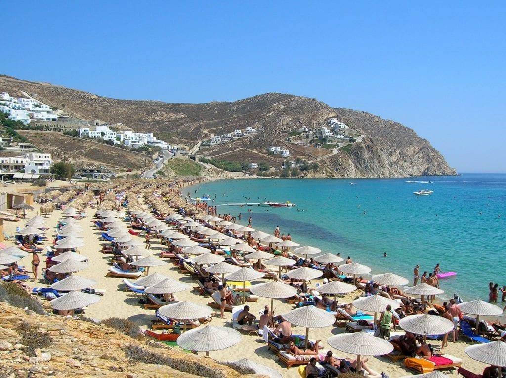 Plaża na Mykonosie, Grecja