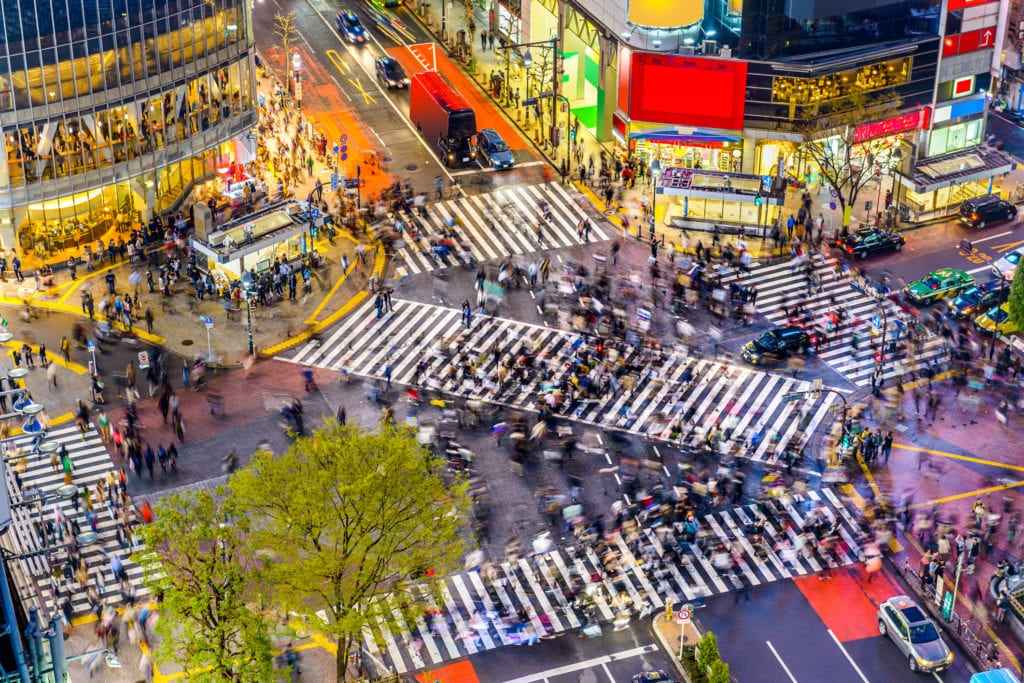 Skrzyżowanie Shibuya w Tokio, Japonia