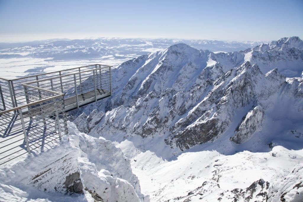 Taras widokowy na Łomnicy zimą, Tatry Słowacja