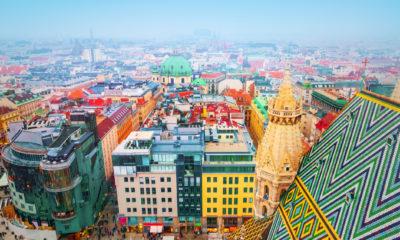 Widok na centrum miasta z Katedry św. Szczepana, Wiedeń Austria