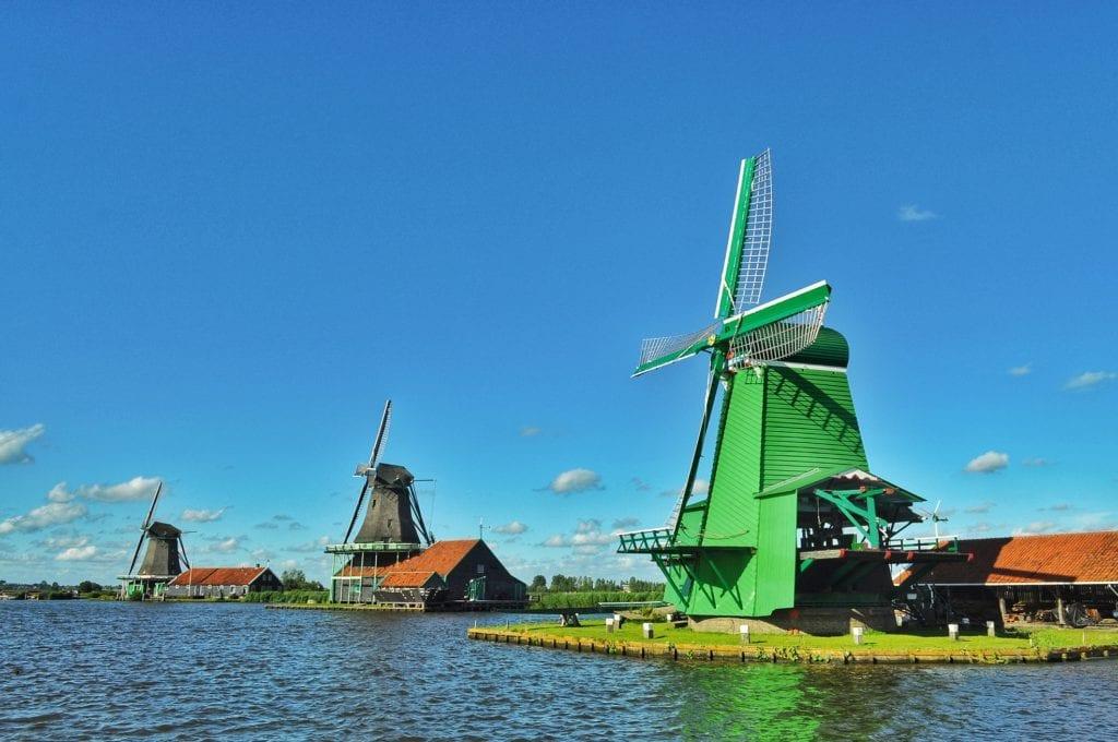 Wiatraki w Zaanse Schans, Holandia