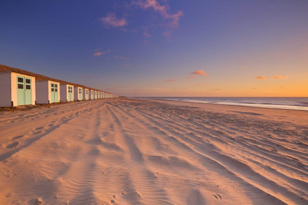 Zachód słońca na wyspie Texel, Holandia