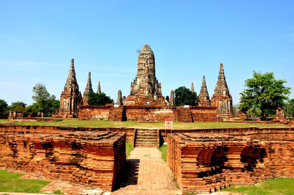 Zniszczona pagoda w Ayutthaya, Tajlandia