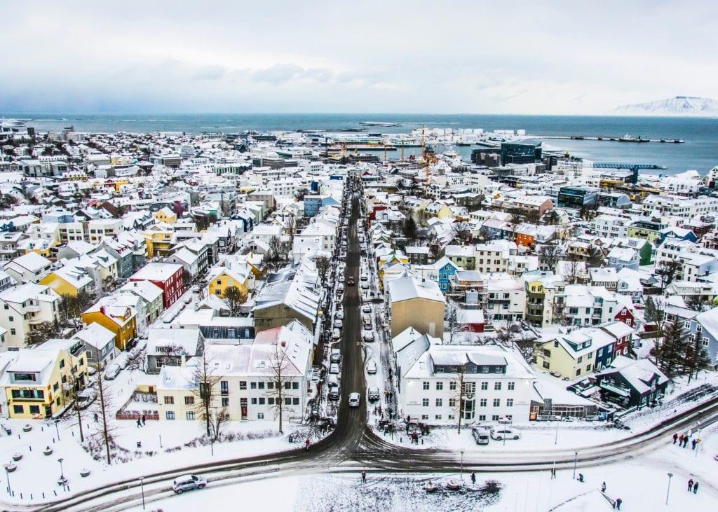 Widok z Hallgrímskirkja, Reykjavik Islandia