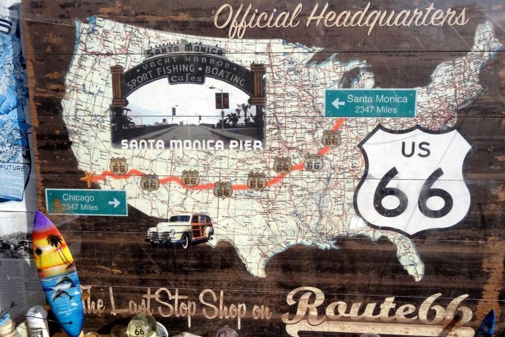 Mapa Route 66,