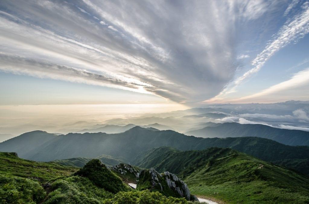 Górskie regiony w prefekturze Fukushima w regionie Tōhoku, Japonia
